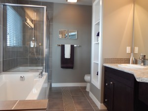 modern new bathroom with white bath and sink