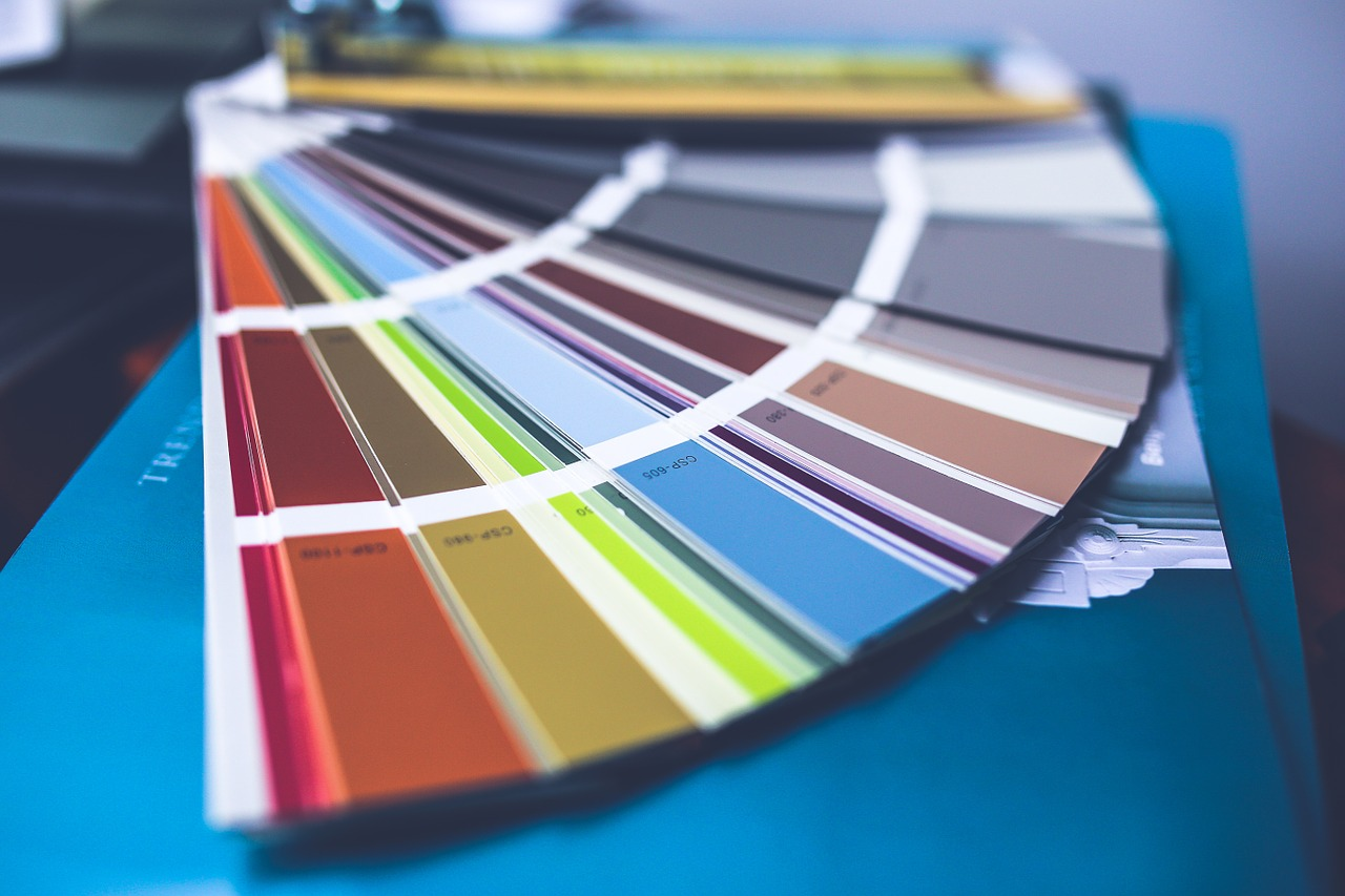 a selection of paint swatches of many different colors