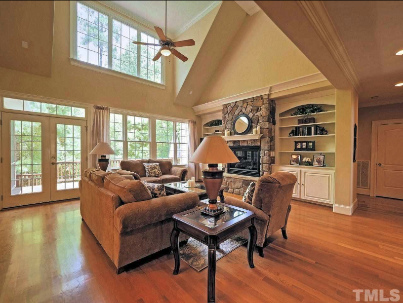 two story greatroom in a chapel hill golf home