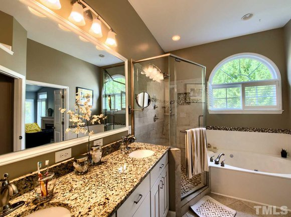 luxurious master bathroom at 204 red field street in cary, nc
